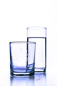 Free Empty Glass Before Full Glass Of Fresh Water. Royalty Free Stock Photos - 17879728