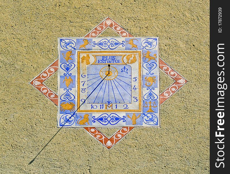 Zodiacal sundial or sun clock on a wall in Provenc