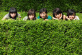 Free Girl Friends Group Hiding Behind The Tree Royalty Free Stock Images - 17880769