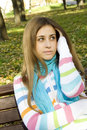 Free Young Woman On A Park Bench Royalty Free Stock Images - 17880999