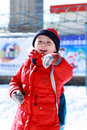 Free Asian Boy Is Playing Snow Royalty Free Stock Photo - 17881865