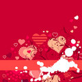 Free Contour Red Hearts On Red Background Royalty Free Stock Photography - 17883917