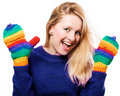Free Happy Beauty Woman In A Colorful Gloves Stock Images - 17888674