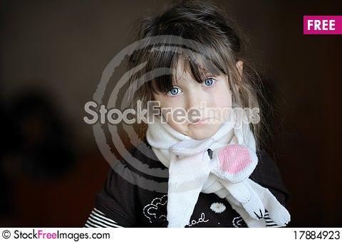 Free Beauty Sad Girl In White Scarf Stock Photos - 17884923
