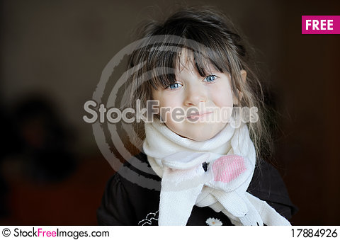 Free Beauty Girl In White Scarf Royalty Free Stock Image - 17884926