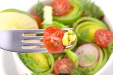 Free Tomato And Leek On The Fork Royalty Free Stock Photography - 17880157