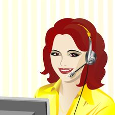 Vector Young Beautiful Girl Telephone Operator Stock Images