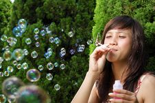 Young Beautiful Asian Having Fun With Bubble Stock Images