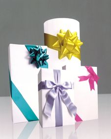 Wrapped Gifts With Colorful Ribbons Stock Photo