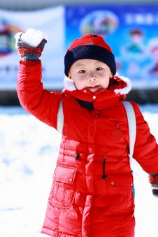 Free Asian Boy Is Playing Snow Stock Images - 17881834