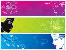 Free Flower Head Women Color Banner Illustration Vector Stock Photography - 17882722