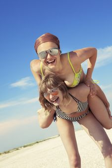 Free Happy Girls Against Blue Sky Stock Images - 17883324