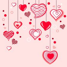 Free Contour Hearts Hanging On Pink Background Royalty Free Stock Image - 17883806
