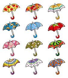 Cartoon Umbrellas Icon Royalty Free Stock Image