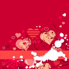 Contour Red Hearts On Red Background Royalty Free Stock Photography