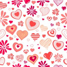 Free Seamless Pattern With Red Contour Shapes Stock Photography - 17883962