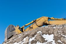 Hydraulic Excavator In Winter Royalty Free Stock Photo