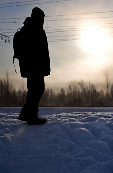 Free Silhouette Of Man In Winter Royalty Free Stock Images - 17884959