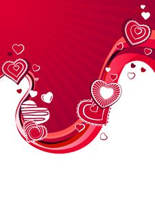 Free Red Hearts On Abstract Background Stock Images - 17885044