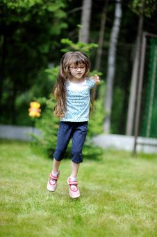 Free Active Little Girl With Long Dark Royalty Free Stock Photography - 17885327
