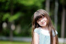 Active Little Girl With Long Dark Hair Royalty Free Stock Photos