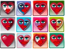 Heart  With Face Stock Images