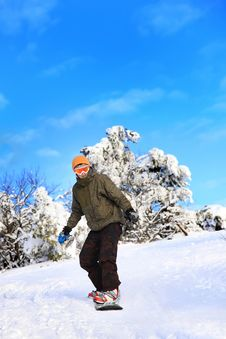 Free Snowboarder Moves Down The Slope Stock Image - 17886101
