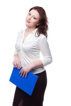 Business Woman In A White Blouse And Skirt Stock Photography