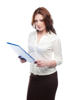 Free Woman  With A Blue Folder Royalty Free Stock Image - 17886216