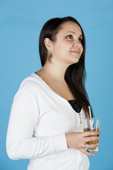 Free Beautiful Woman Stands With A Glass Stock Photography - 17886262