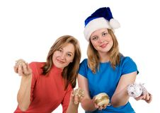 Free Girls With Christmas Tree Balls Stock Photo - 17886430