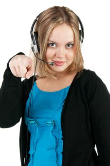 Free Woman With Headphones And Microphone Royalty Free Stock Photography - 17886467