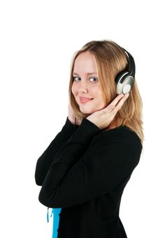 Free Beautiful Girl Listens To Music Stock Photo - 17886470