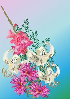 Free White Lily And Pink Lotus Bouquet Stock Image - 17887121