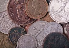 Copper And Silver Old Coins Background Stock Photos