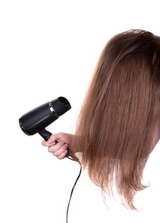 Free Woman Hair And Dryer On White Royalty Free Stock Photo - 17887155
