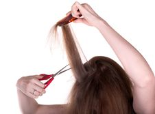 Woman With Long Hair And Scissors On White Royalty Free Stock Image