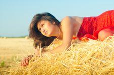 Woman On Landckape Near Haystack Stock Images