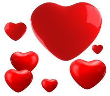 Free Red Shiny Hearts Royalty Free Stock Photography - 17889547