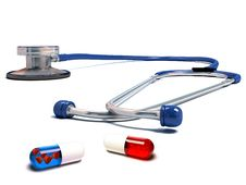 Free Stethoscope With Red And Blue Pills Isolated Royalty Free Stock Image - 17889576
