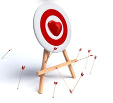 Free Red Heart And Target On White Royalty Free Stock Images - 17889589
