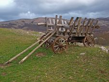 An Old Cart In The Mountains Of Crimea Stock Image