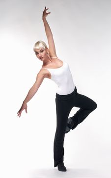 Beautiful Woman Do Dance Exercises