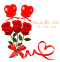 Free Valentine`s Day Card. Red Roses And Gift Red Bow. Royalty Free Stock Photos - 17892478