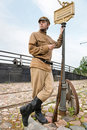 Free Retro Style Picture With Soldier At Tram Stop. Stock Photography - 17893232