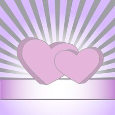 Pink Hearts On A Purple Background With Rays Stock Images