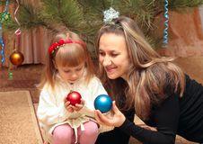Free Mom And Girl   Christmas Tree Stock Photography - 17890822