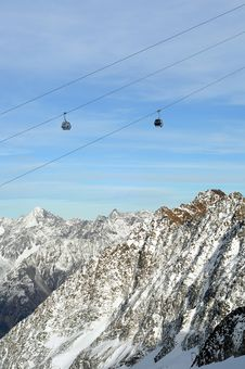 Gondola Ski Lift Above Alps Mountains Stock Photos