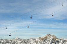 Gondola Ski Lift Above Alps Mountains Stock Photography