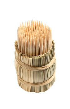 Set Of Toothpicks In Small Straw Jar Stock Images